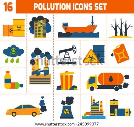 Pollution environment contamination toxic waste and ecology icons set isolated vector illustration - stock vector
