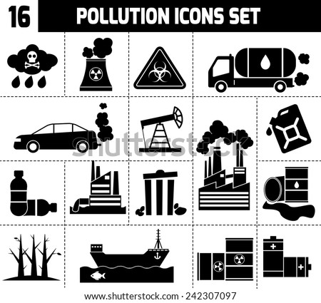 Pollution icons black set with garbage factories cars smoking plants isolated vector illustration - stock vector