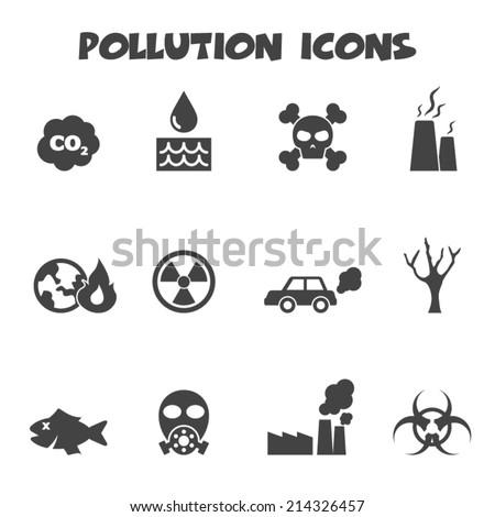 pollution icons, mono vector symbols - stock vector