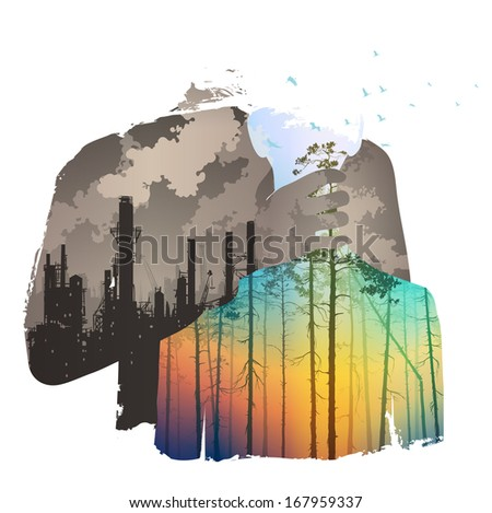 pollution of the atmosphere, bright colors, vector illustration - stock vector