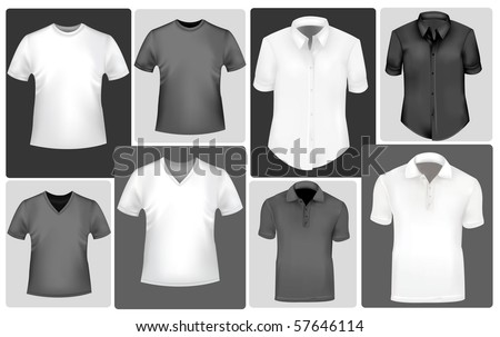 Polo and t-shirts. Photo-realistic vector. - stock vector