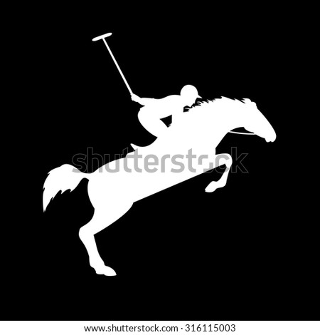 Polo player on isolated background. Horse polo silhouettes. Polo game. Silhouette of a polo player with horse. Colorful horse with rider or jockey. Equestrian sport - stock vector