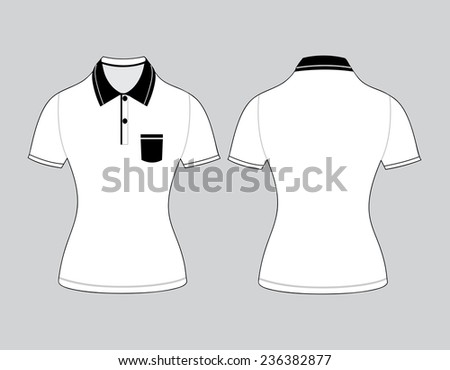polo woman shirt design templates (front and back views). Vector illustration - stock vector