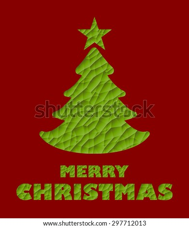 Poly Mesh Texture Green Christmas Tree - stock vector