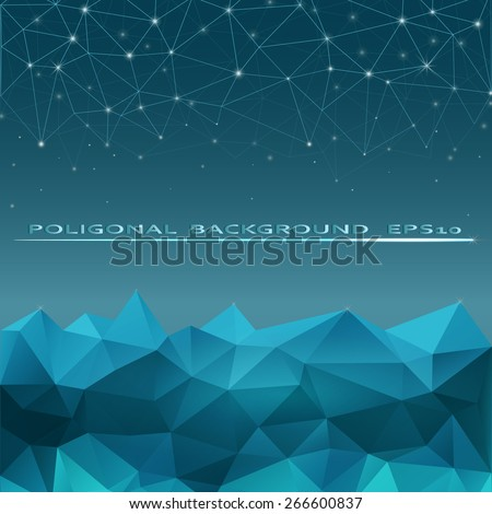 Polygon background, digital night sky, mountains and stars - stock vector