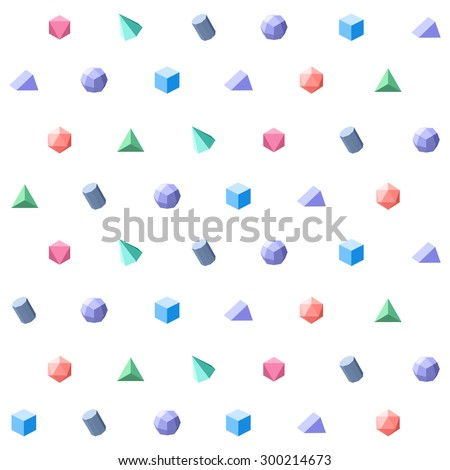 Polygon 3d objects Seamless geometric pattern. Vector - stock vector