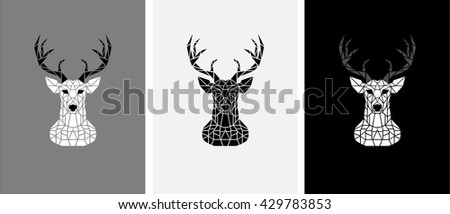 Polygon deer vector in black and white - stock vector