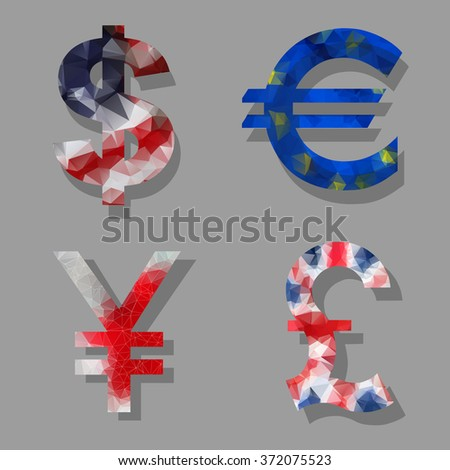 Polygon Dollar, Euro, Pound and Yen currency icons. USD, EUR, GB - stock vector