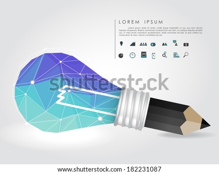 polygon idea light bulb and pencil with business icon vector - stock vector
