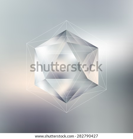 Polygon pattern with the reflection, minimalistic geometric facet crystal logo on blurred background, vector illustration. - stock vector