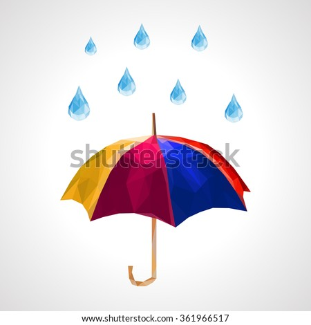 polygon set of umbrella and rain drops for weather forecast blue - stock vector