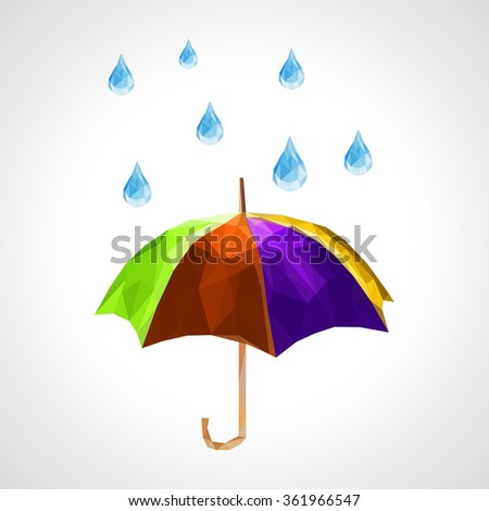 polygon set of umbrella and rain drops for weather forecast purple - stock vector
