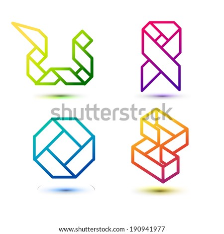 Polygon symbol icons Set - Isolated On White Background - Vector Illustration, Graphic Design Editable For Your Design.  - stock vector