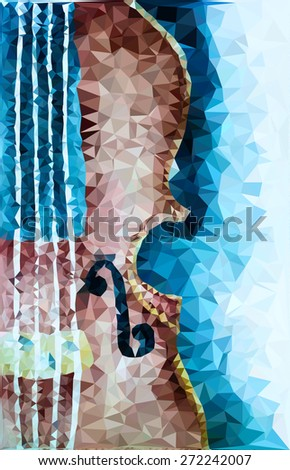 Polygon violin style poster. Vector version - stock vector