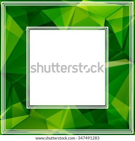 Polygonal abstract border with bright green triangles. - stock vector