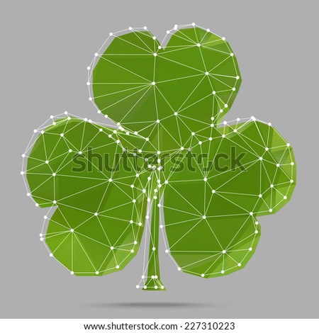 Polygonal abstract clover with three leaves (shamrock leaf), made from triangles with white grid  - stock vector