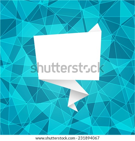 Polygonal background with origami frame - stock vector