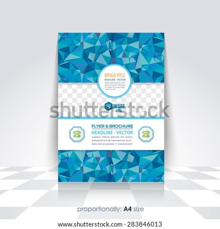 Polygonal Elements A4 Flyer, Brochure. Cover Template, Corporate Leaflet Design Template  - stock vector