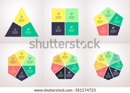 Polygonal elements for infographics. Polygons with sharp corners. Triangle, square, pentagon, hexagon, heptagon, octagon. Chart, graph, diagram with 3, 4, 5, 6, 7, 8 steps, options, parts, processes. - stock vector