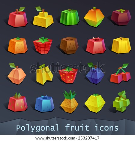 Polygonal fruit icons - stock vector