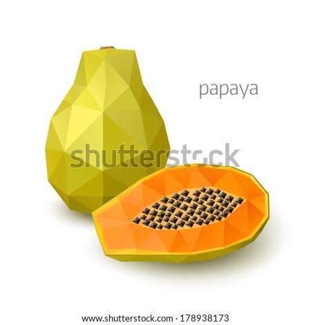 Polygonal fruit - papaya. Vector illustration - stock vector
