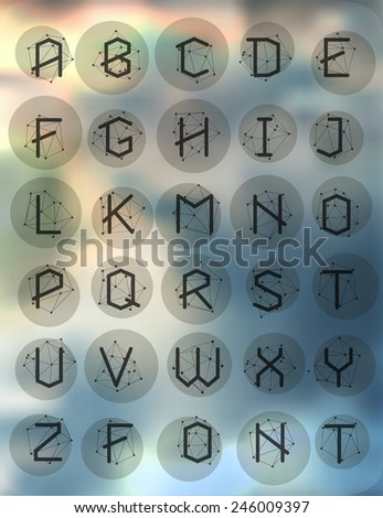 Polygonal geometric font. Creative Alphabet. Typographic Set. Cosmic style  - stock vector
