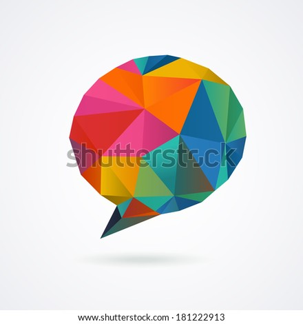 Polygonal geometric, vector 3D speech bubble - stock vector