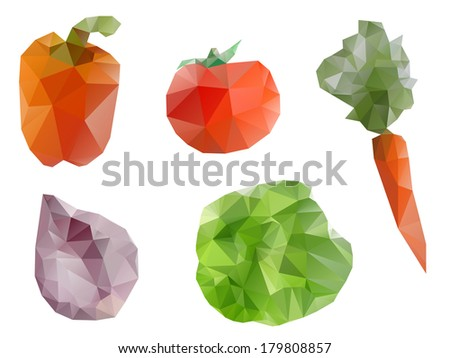 Polygonal geometric vegetables - stock vector