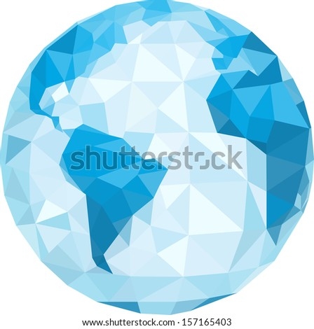 polygonal globe. Vector illustration. - stock vector