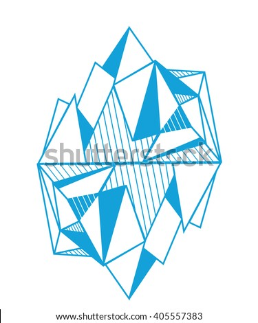 polygonal graphic mountains, icebergs.  origami style.minimalistic islands. hipster print template or tattoo design. - stock vector