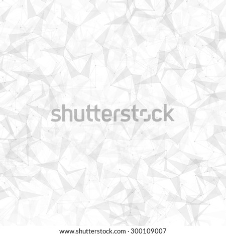Polygonal grey background. Low poly, molecule and communication with connected dots and lines. Vector Illustration. - stock vector