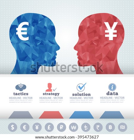 Polygonal Human Heads Finance Thinking Infographics Elements - stock vector