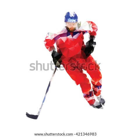 Polygonal ice hockey player. Abstract red vector geometrical hockey player. Isolated vector silhouette. Winter sport - stock vector