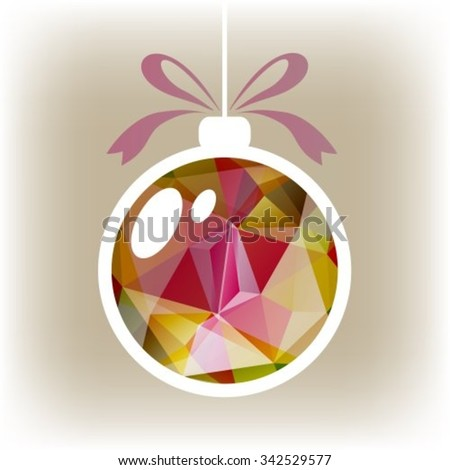 Polygonal isolated Christmas ball with purple and green triangles. - stock vector