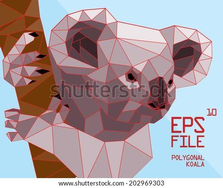 polygonal koala illustration - stock vector