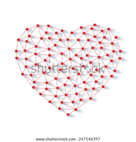 Polygonal low poly valentine heart made from red pins with shadow and thread on white background - stock vector