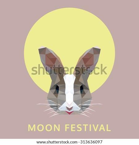 polygonal rabbit head on moon, moon festival, vector illustration - stock vector