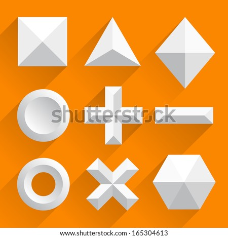 Polygonal shapes vector white - stock vector