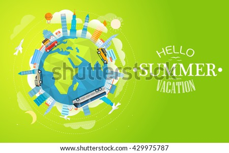 Polygonal skyline and vehicles on globe. Travel concept vector illustration. Hello  summer vacation - stock vector