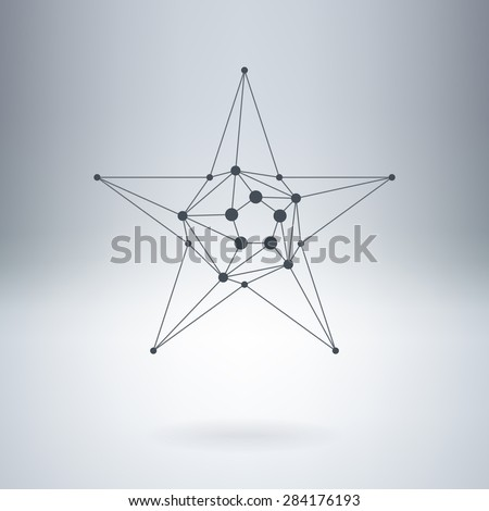 Polygonal Star, Modern stylish lowpoly logo with dots. Design element with triangles and nodes. Vector logotype template. - stock vector