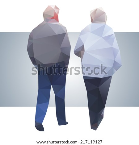 Polygonal street old couple - stock vector