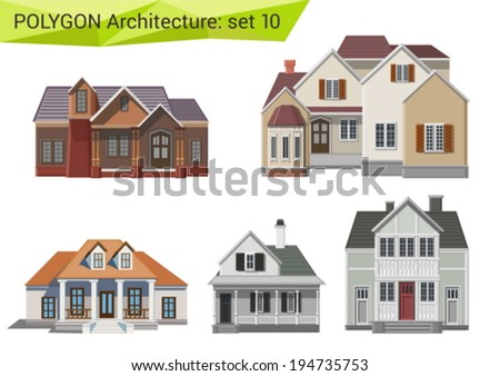 Polygonal style houses and buildings set. Countryside design element.  Polygon architecture collection. - stock vector