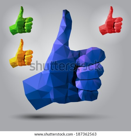 Polygonal style Thumbs Up sign on light background - stock vector