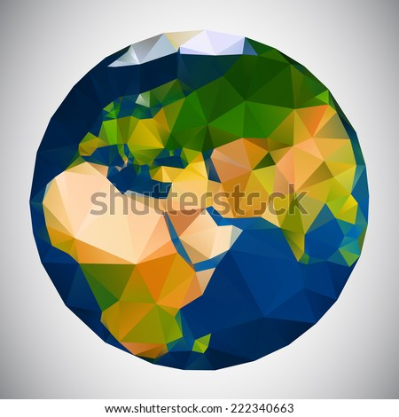 Polygonal style vector illustration of earth planet, Eurasia view - stock vector