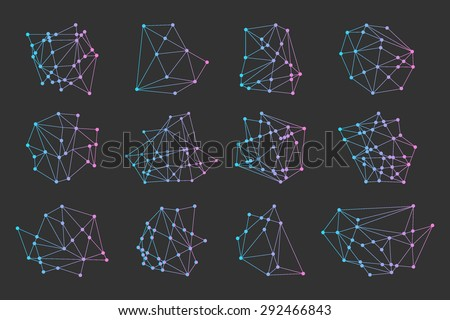 Polygonal triangles, hipster cosmic logo, space icon - stock vector