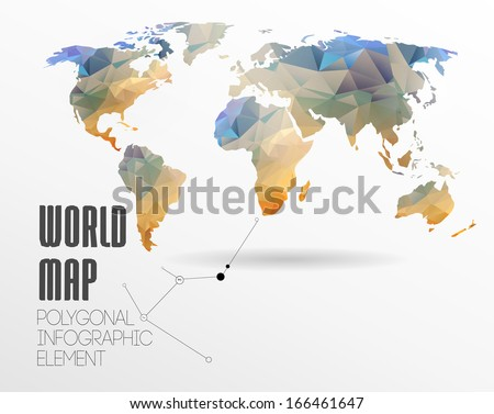 Polygonal World Map and Information Graphics. World Map and typography - stock vector