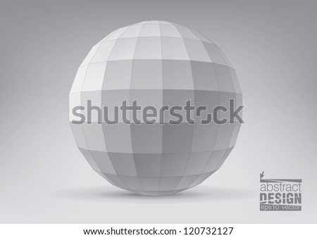 Polyhedron with triangular faces for graphic design. You can change colors - stock vector