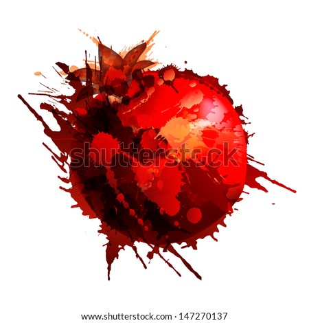 Pomegranate made of colorful splashes on white background - stock vector