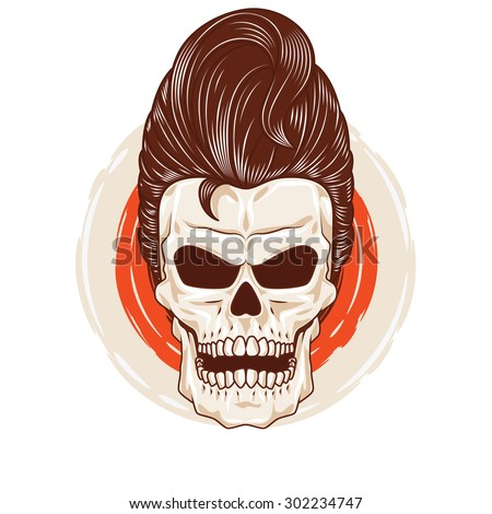 Pompadour Skull Head. a skull head with a cool hairstyle. - stock vector