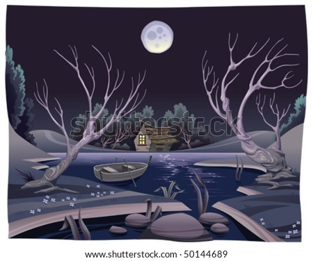 Pond in the night. Funny cartoon and vector illustration - stock vector